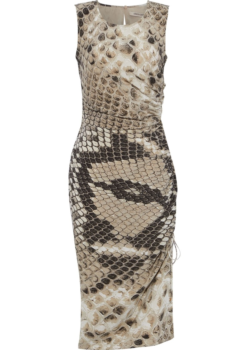 Roberto Cavalli Woman Ruched Snake-print Silk Crepe De Chine Dress Animal Print