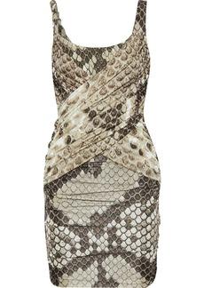 Roberto Cavalli Woman Ruched Snake-print Stretch-crepe And Satin-jersey Mini Dress Animal Print
