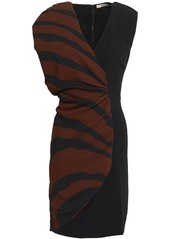Roberto Cavalli Woman Ruched Paneled Zebra-print Stretch-crepe Mini Dress Black