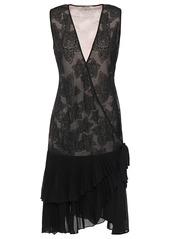 Roberto Cavalli Woman Ruffle-trimmed Metallic Crochet-knit Wrap Dress Black