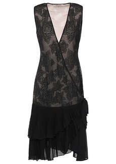 Roberto Cavalli Woman Ruffle-trimmed Metallic Crochet-knit Wrap Dress Black