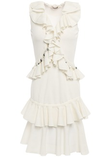 Roberto Cavalli Woman Ruffled Embellished Cotton-blend Mini Dress Off-white