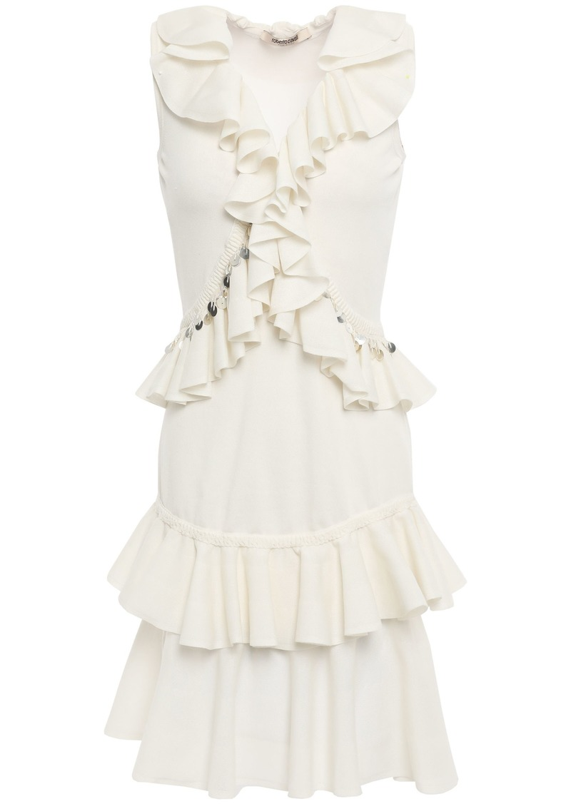 Roberto Cavalli Woman Ruffled Embellished Cotton-blend Mini Dress Off-white