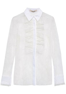 Roberto Cavalli Woman Ruffled Embroidered Cotton-blend Tulle Blouse Ivory