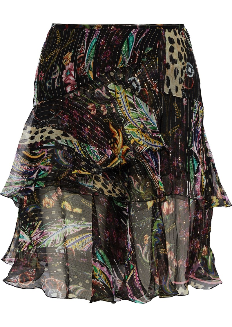 Roberto Cavalli Woman Ruffled Floral-print Metallic Silk-blend Chiffon Mini Skirt Black