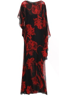 Roberto Cavalli Woman Ruffled Floral-print Silk-chiffon Maxi Dress Black