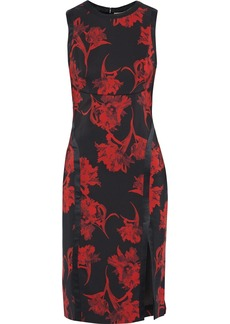 Roberto Cavalli Woman Satin-trimmed Floral-print Ponte Dress Black