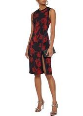 Roberto Cavalli Woman Satin-trimmed Floral-print Ponte Dress Black