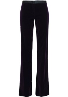 Roberto Cavalli Woman Satin-trimmed Velvet Bootcut Pants Dark Purple