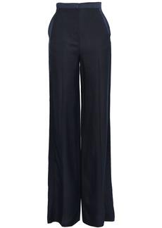 Roberto Cavalli Woman Satin-trimmed Woven Wide-leg Pants Midnight Blue