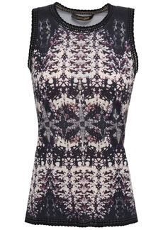 Roberto Cavalli Woman Scalloped Printed Knitted Top Black