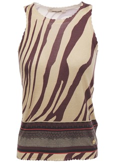 Roberto Cavalli Woman Scalloped Zebra-jacquard Top Sand