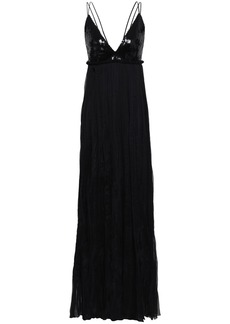 Roberto Cavalli Woman Sequin-paneled Silk-blend Georgette Gown Black