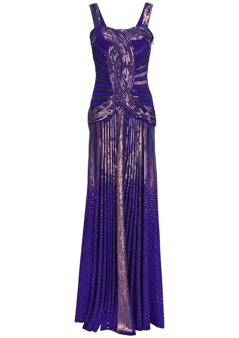 Roberto Cavalli Woman Sequined Knitted Gown Indigo