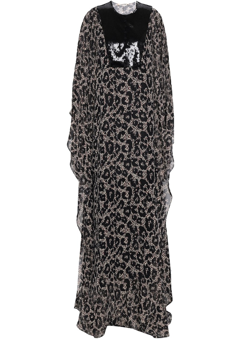 Roberto Cavalli Woman Sequined-paneled Leopard-print Silk-georgette Maxi Dress Black