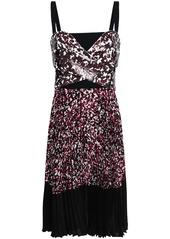 Roberto Cavalli Woman Sequined Printed Silk Crepe De Chine Dress Black
