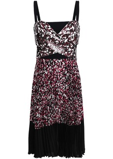 Roberto Cavalli Woman Sequined Printed Silk Crepe De Chine Dress Black