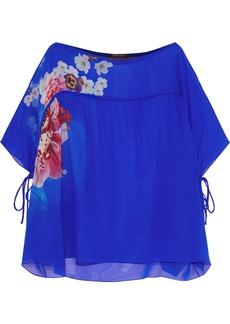 Roberto Cavalli Woman Bow-detailed Floral-print Silk-chiffon Blouse Bright Blue
