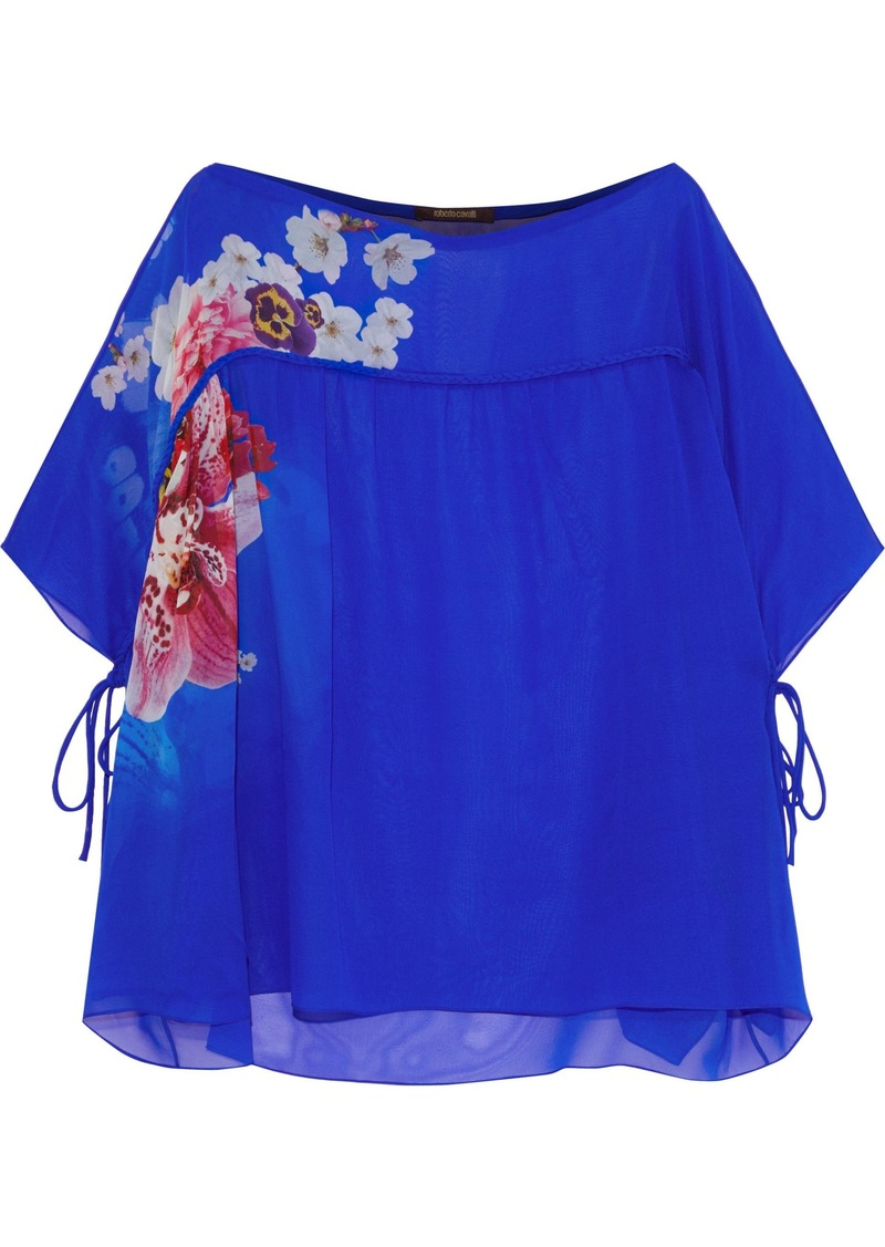 Roberto Cavalli Woman Bow-detailed Floral-print Silk-chiffon Blouse Bright Blue