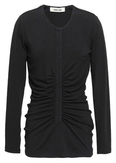 Roberto Cavalli Woman Silk Satin-trimmed Ruched Jersey Top Black
