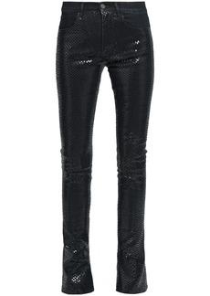 Roberto Cavalli Woman Snake-print High-rise Skinny Jeans Dark Denim