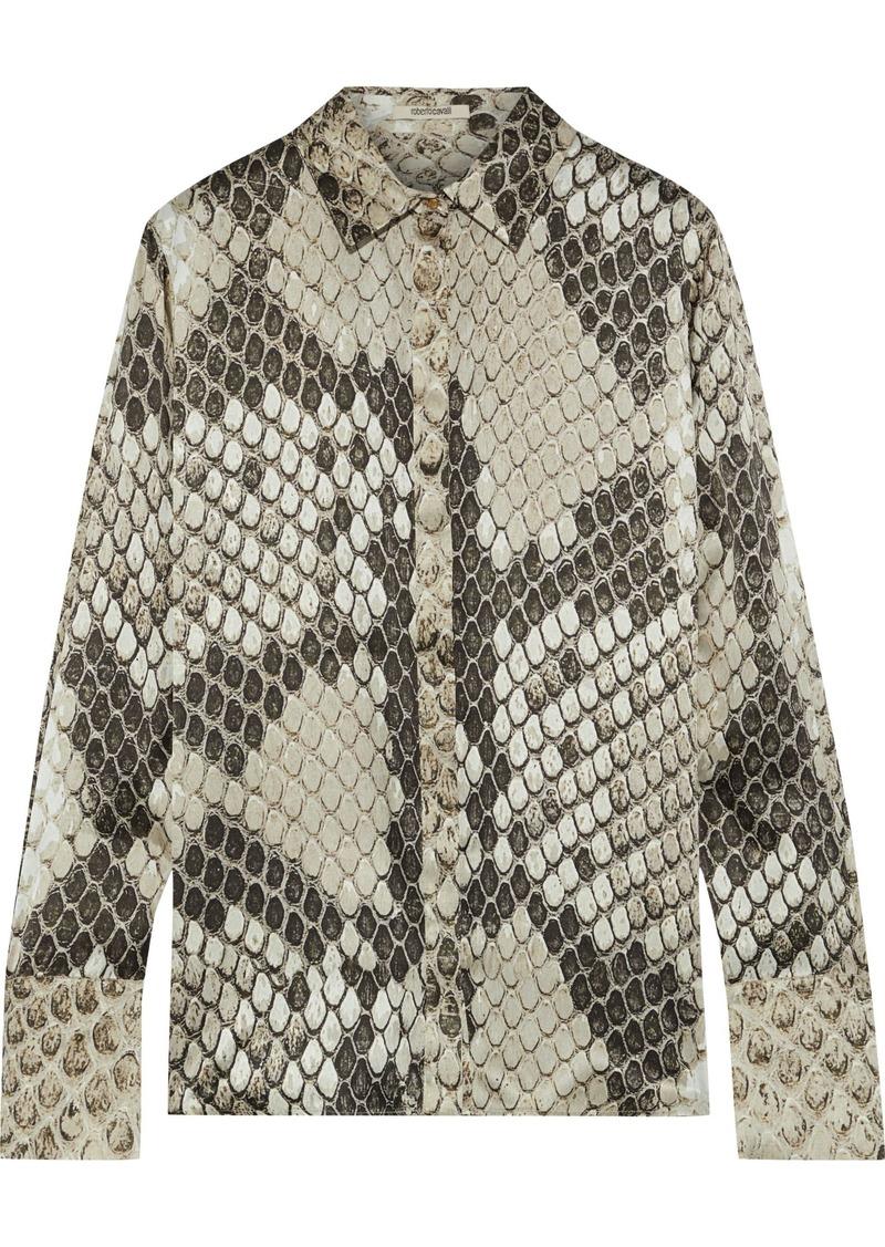 Roberto Cavalli Woman Snake-print Silk-satin Shirt Taupe