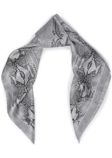 Roberto Cavalli Woman Snake-print Silk-twill Scarf Light Gray
