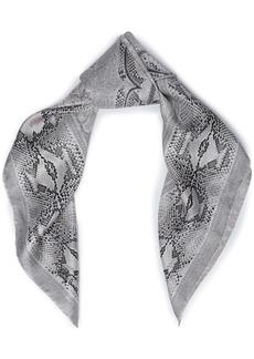 Roberto Cavalli Woman Snake-print Silk-twill Scarf Light Gray