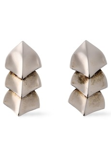 Roberto Cavalli Woman Snake Scale Burnished Silver-tone Earrings Silver