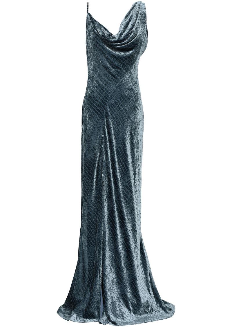 Roberto Cavalli Woman Split-front Draped Devoré-velvet Gown Petrol