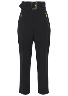 Roberto Cavalli Woman Belted Crepe Straight-leg Pants Black