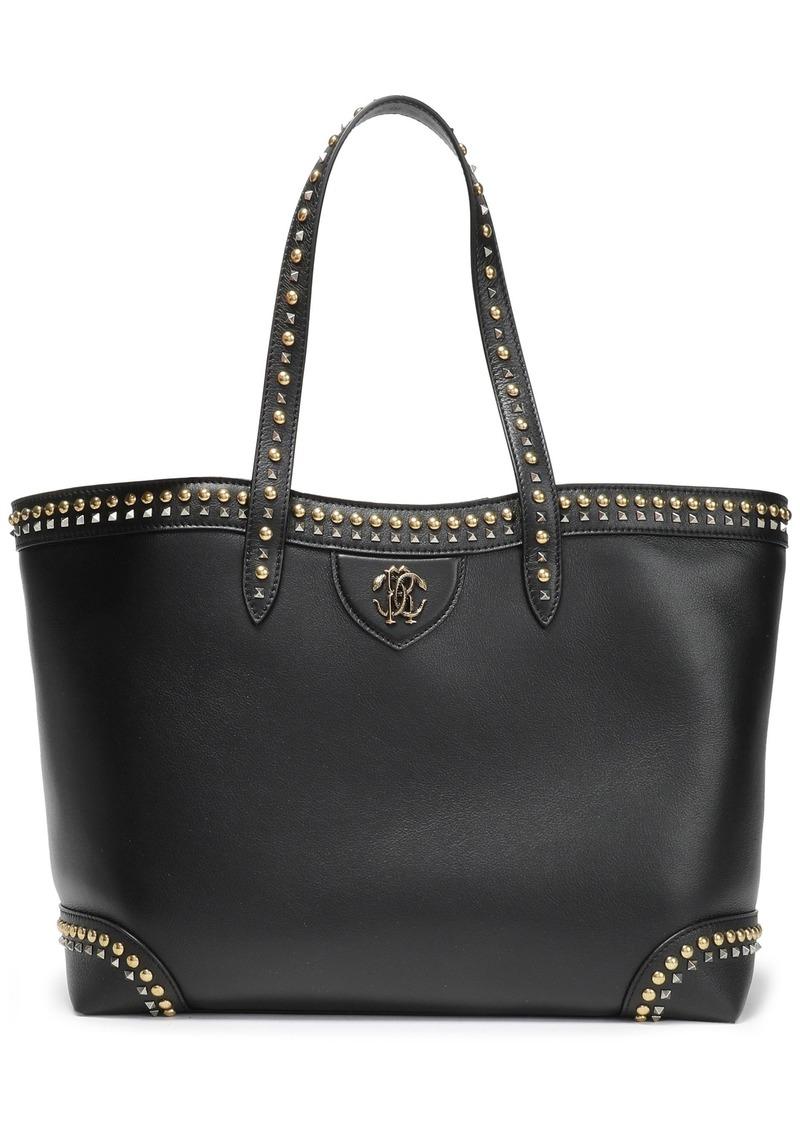 Roberto Cavalli Woman Studded Leather Tote Black