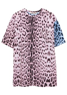 Roberto Cavalli Woman Studded Leopard-print Cotton-jersey T-shirt Animal Print