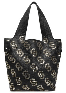 Roberto Cavalli Woman Studded Pebbled-leather Tote Black