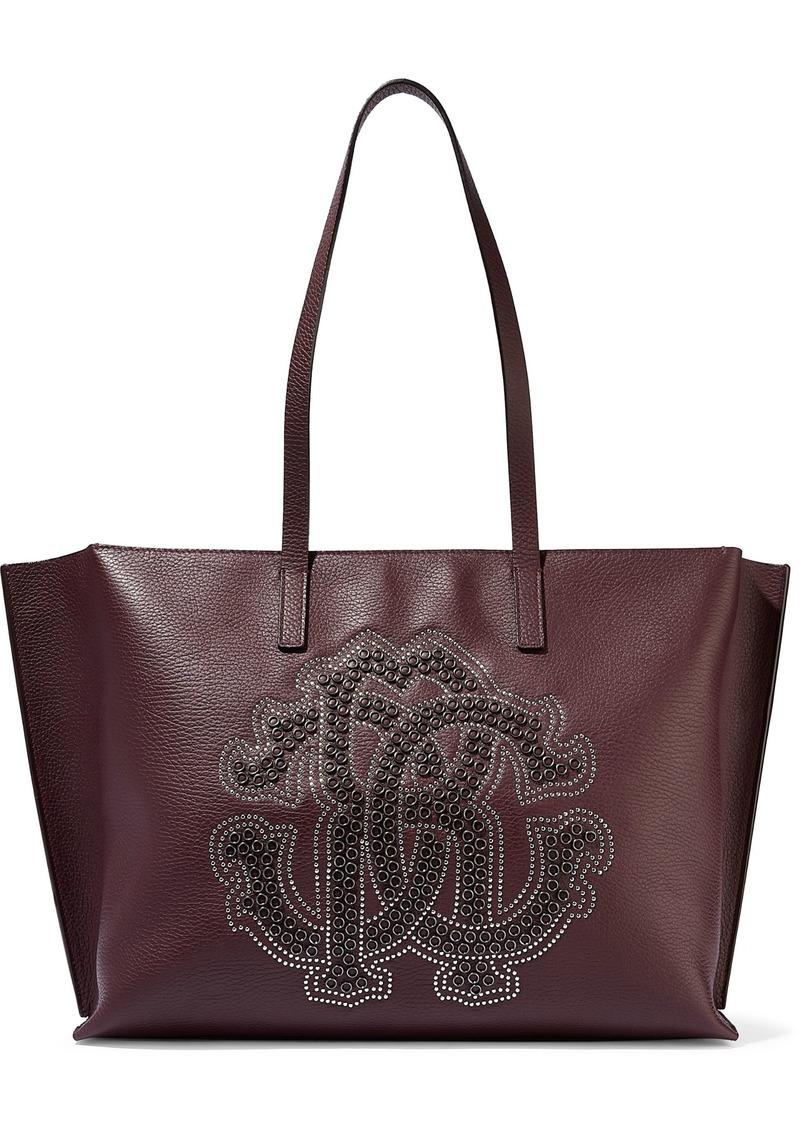 Roberto Cavalli Woman Studded Pebbled-leather Tote Burgundy
