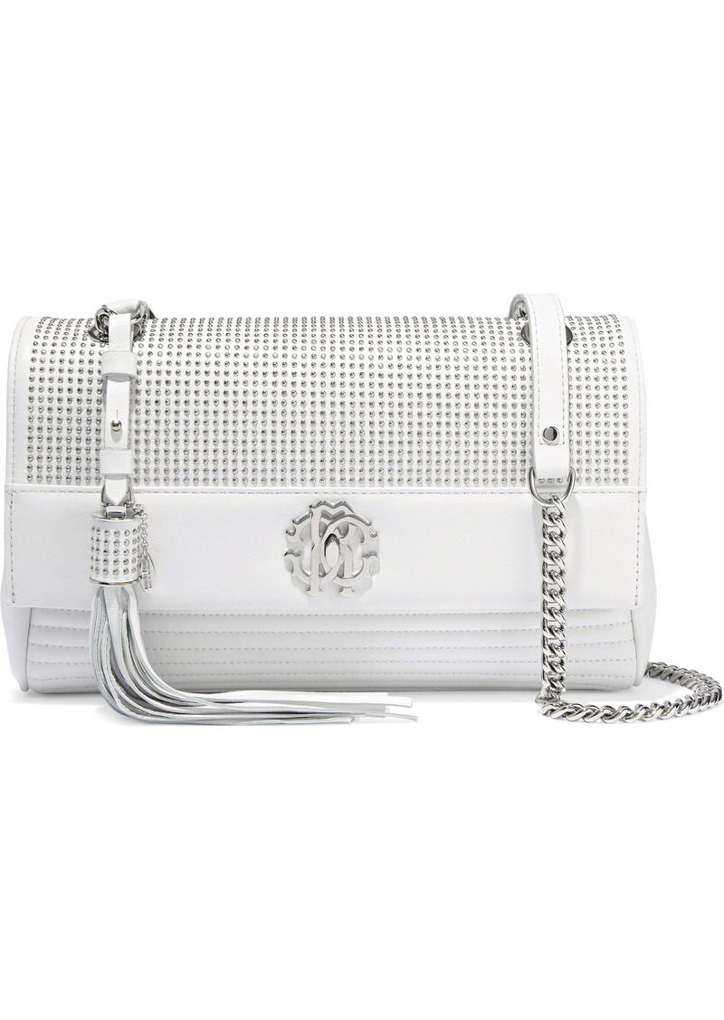Roberto Cavalli Woman Studded Quilted Leather Shoulder Bag White