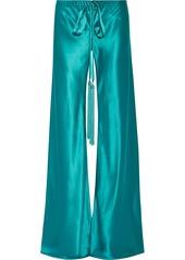 Roberto Cavalli Woman Tasseled Silk-satin Wide-leg Pants Turquoise