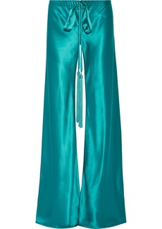 Roberto Cavalli Woman Tasseled Silk-satin Wide-leg Pants Turquoise