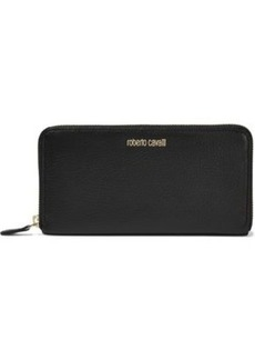 Roberto Cavalli Woman Textured-leather Continental Wallet Black