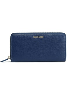 Roberto Cavalli Woman Textured-leather Wallet Navy