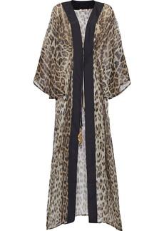 Roberto Cavalli Woman Tie-front Satin-trimmed Leopard-print Silk-chiffon Kimono Animal Print