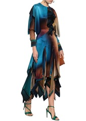 Roberto Cavalli Woman Tiered Color-block Silk-satin Midi Dress Multicolor