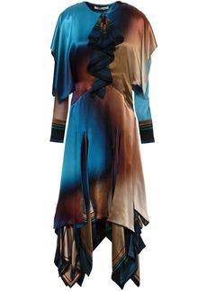 Roberto Cavalli Woman Tiered Color-block Silk-satin Midi Dress Multicolor