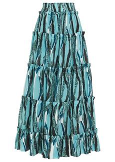 Roberto Cavalli Woman Tiered Shirred Snake-print Cotton-broadcloth Maxi Skirt Turquoise