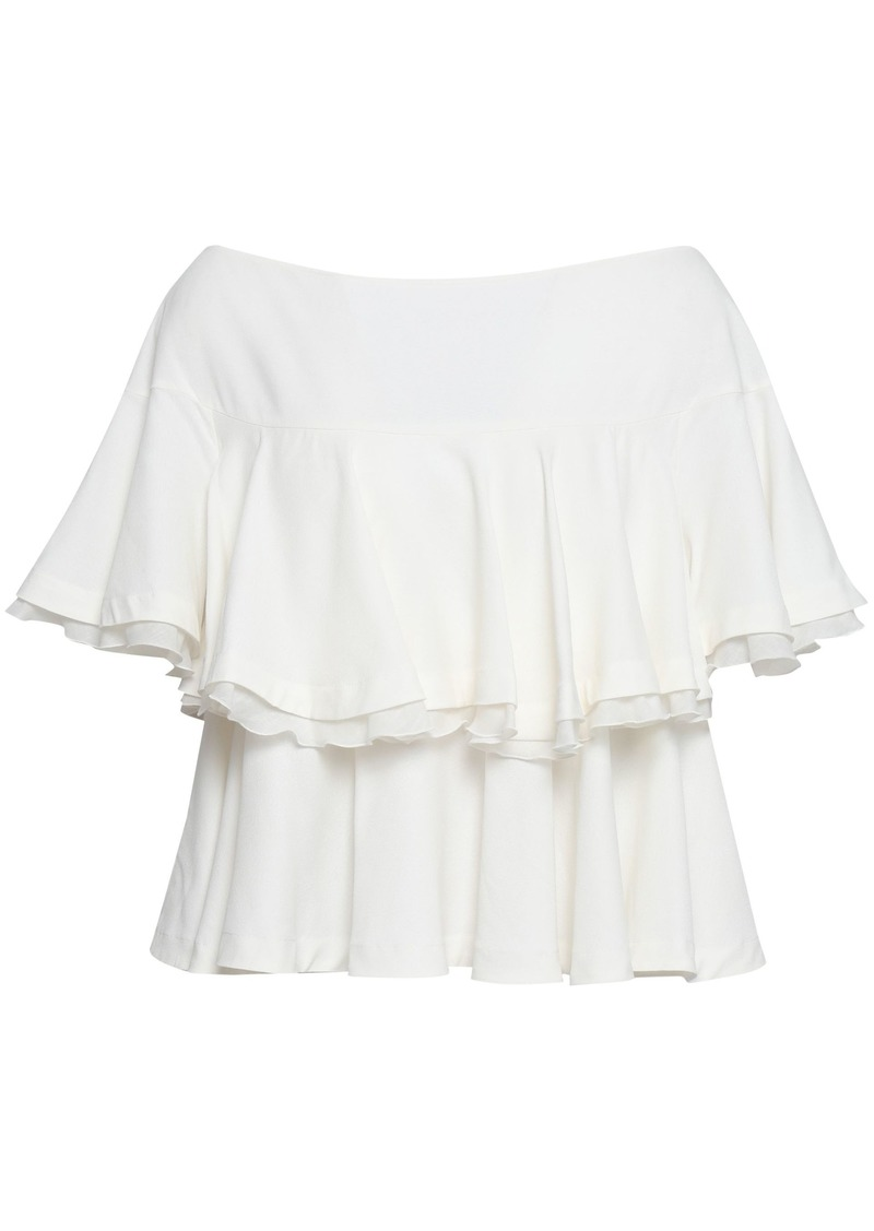 Roberto Cavalli Woman Tiered Stretch-crepe Top White