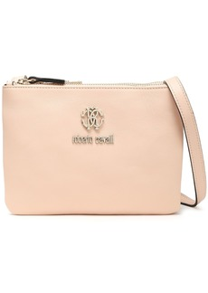 Roberto Cavalli Woman Trio Logo-embellished Leather Shoulder Bag Pastel Pink