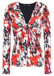Roberto Cavalli Woman Twist-front Printed Stretch-jersey Top Crimson