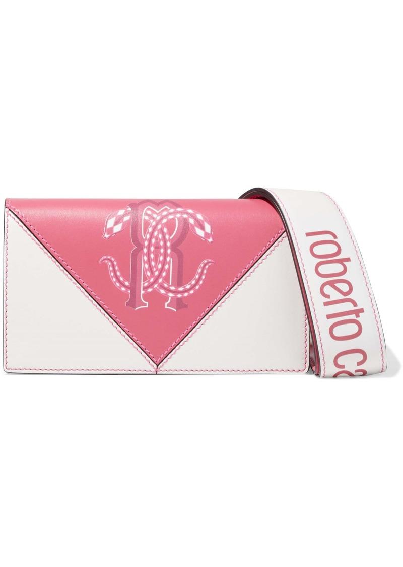 Roberto Cavalli Woman Two-tone Printed Leather Shoulder Bag Pink