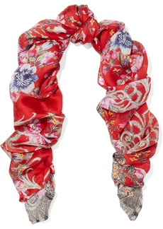 Roberto Cavalli Woman Unica Printed Silk-twill Scarf Red