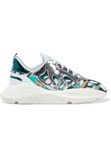 Roberto Cavalli Woman V1per Cracked Mirrored-leather And Printed Mesh Sneakers White